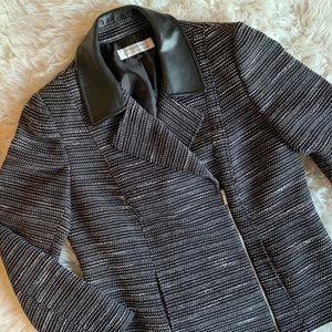 TAHARI | ASL | tweed moto jacket black sz 10 large